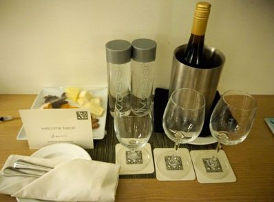 Included in our package was a welcome bottle of wine and plate of cheese.
