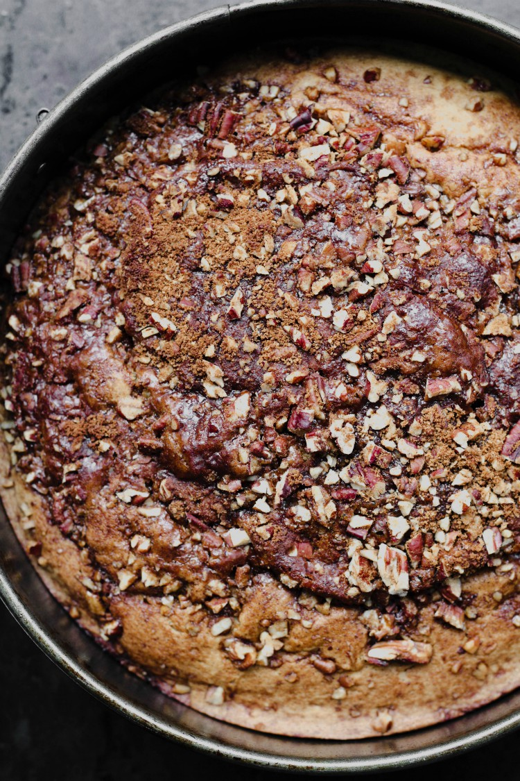 overhead image of cake in a pan