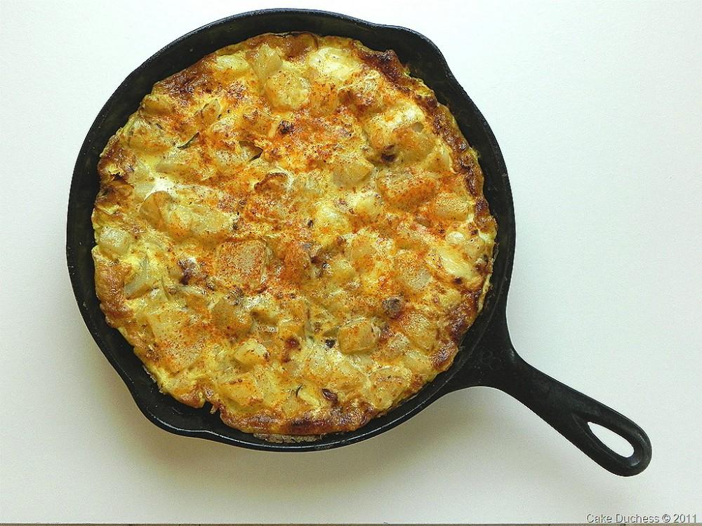 overhead image of basque potato tortilla