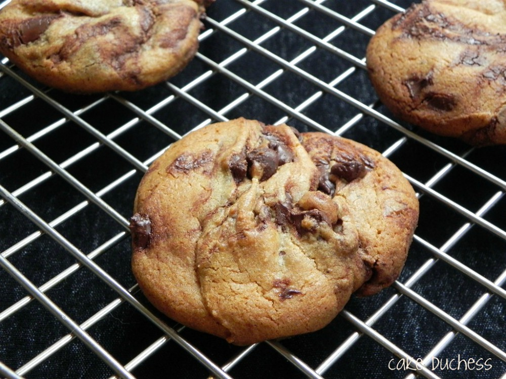 overhead image of chocolate chip cookies