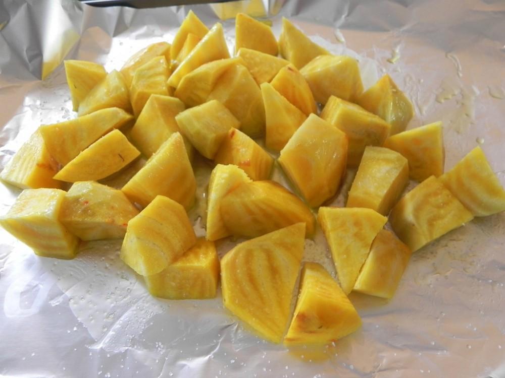 golden beets in foil paper