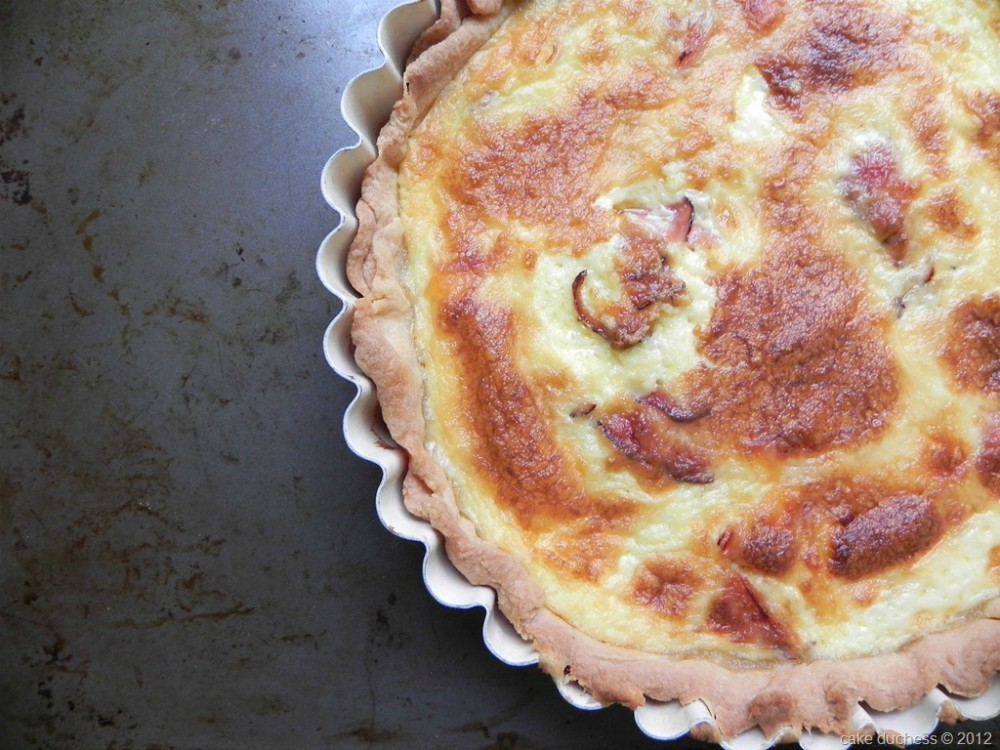 overhead image of ham and cheese quiche