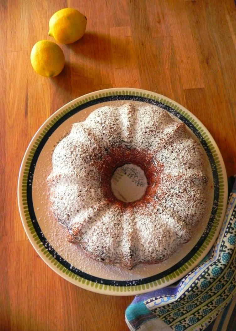 overhead image of vegan blueberry lemon bundt cake