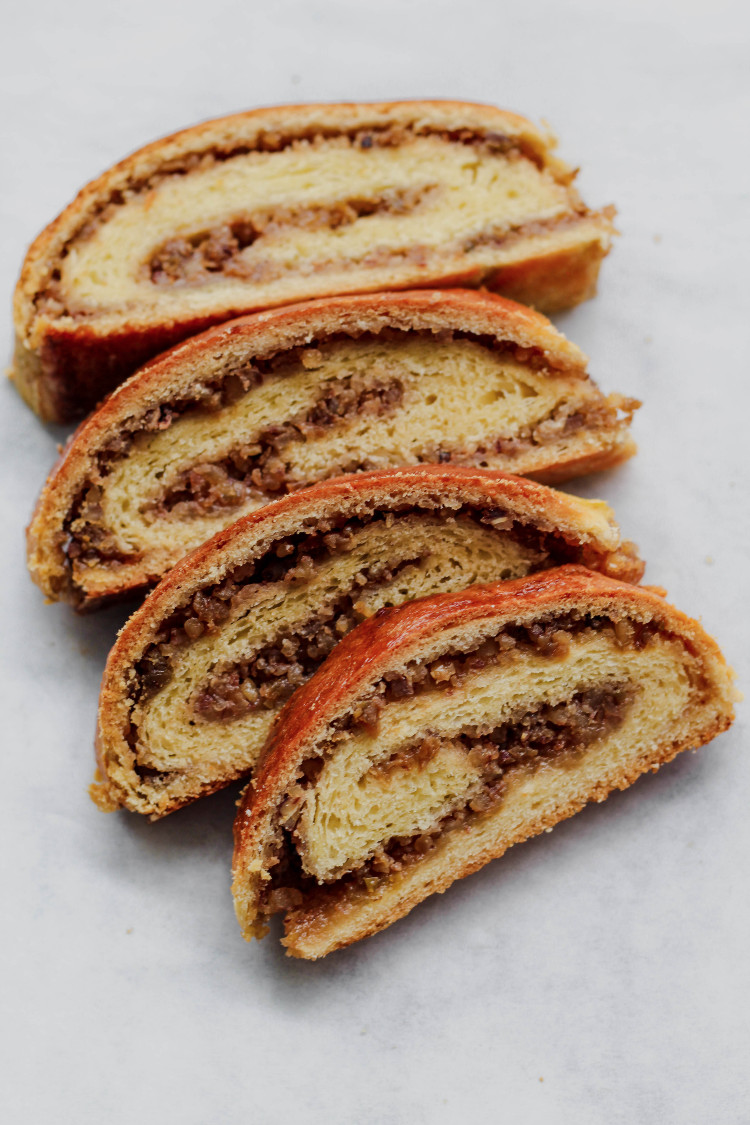 close up image of sliced dough with filling