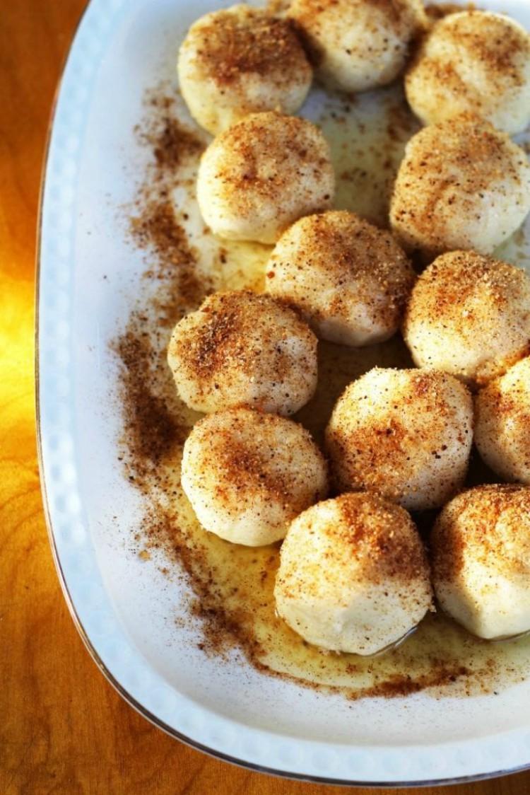 overhead image of plum dumplings gnocchi di susine