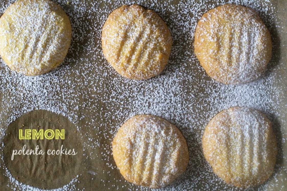 overhead image of lemon cornmeal cookies
