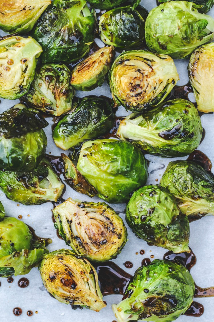 overhead image of roasted baslamic and honey brussels sprouts