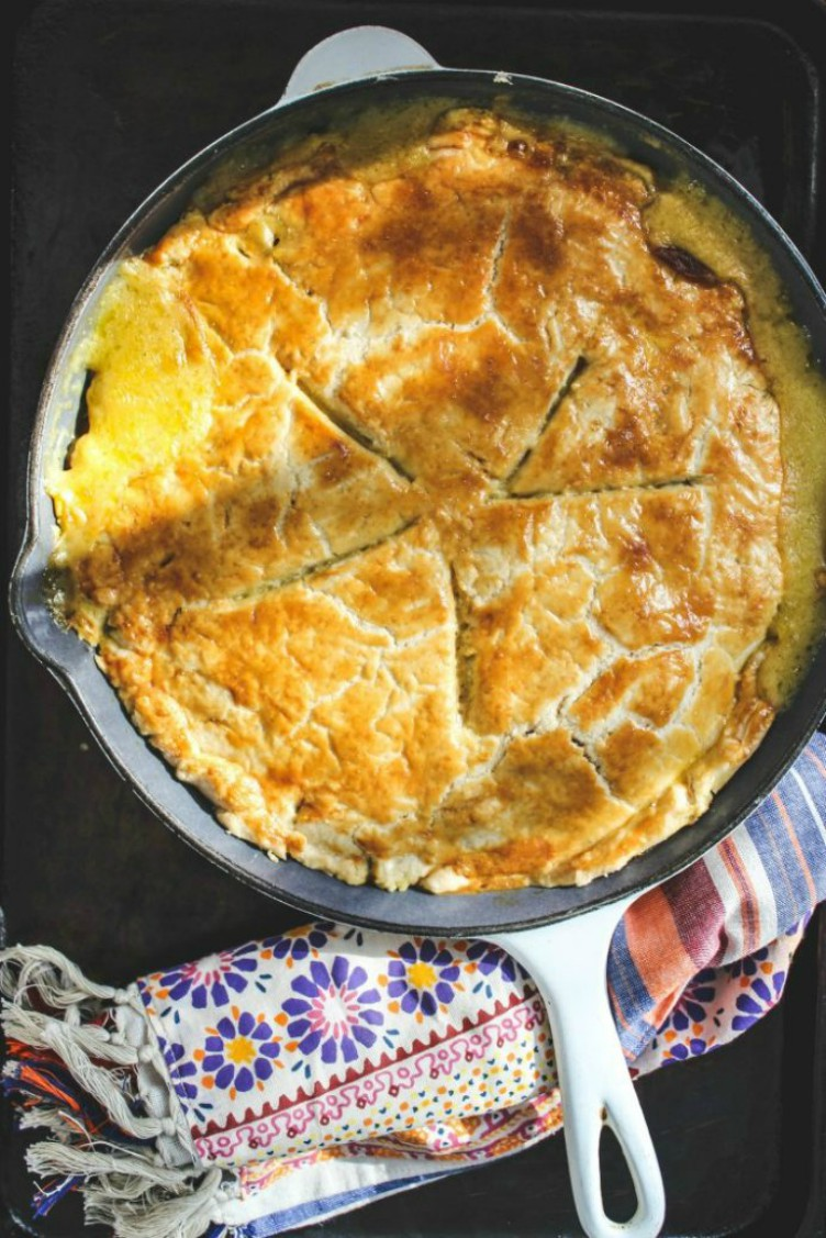 overhead image of turkey pot pie