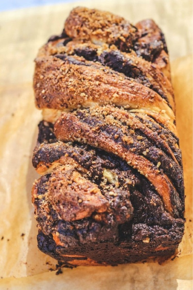 image of a chocolate babka on a baking paper