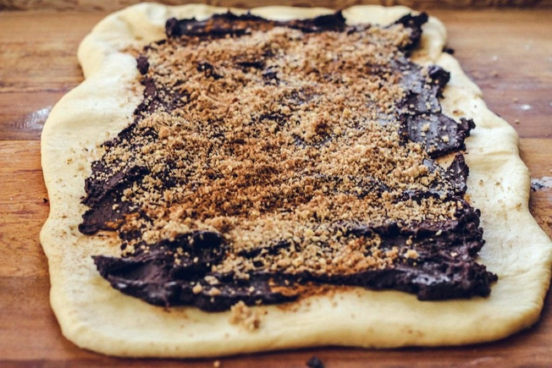 image of making chocolate babka dough rolled out on working board