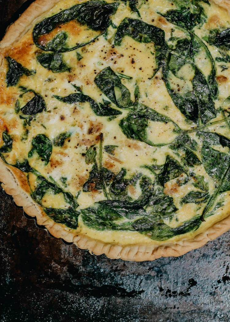 overhead image of tuna and spinach tart