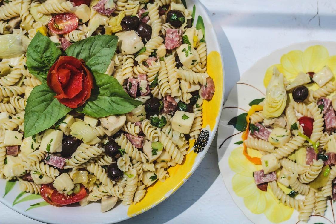 overhead image of antipasto salad
