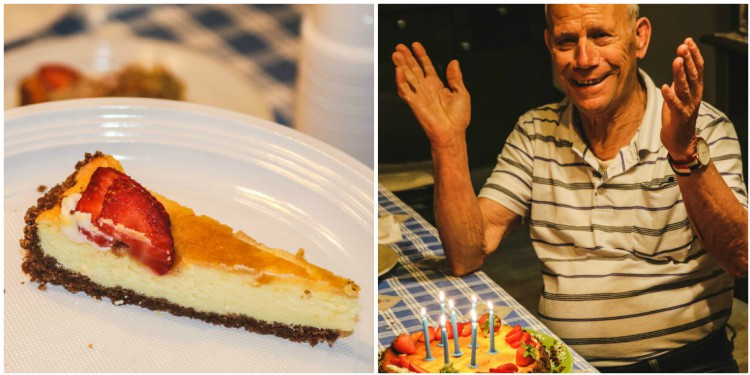 overhead image of a cheesecake and a grandfather