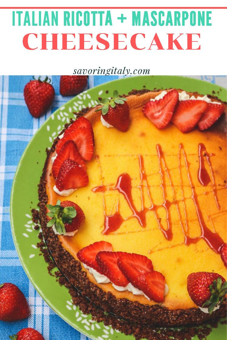 overhead image of ricotta cheesecake