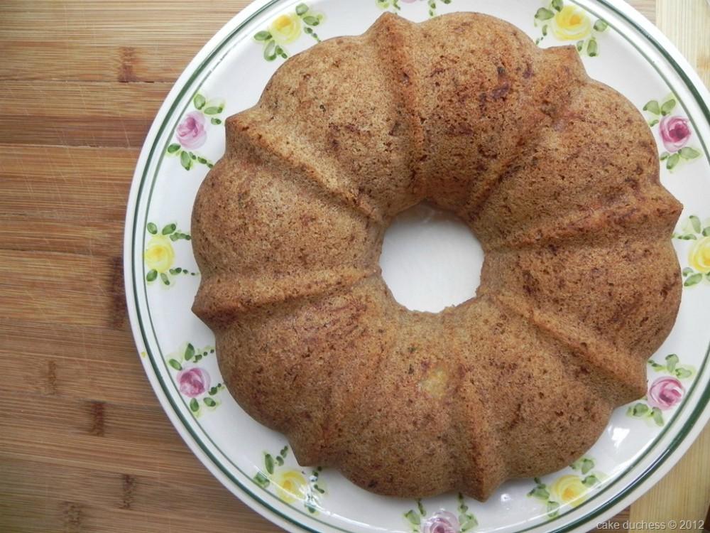 overhead image of bundt cake on floral plate