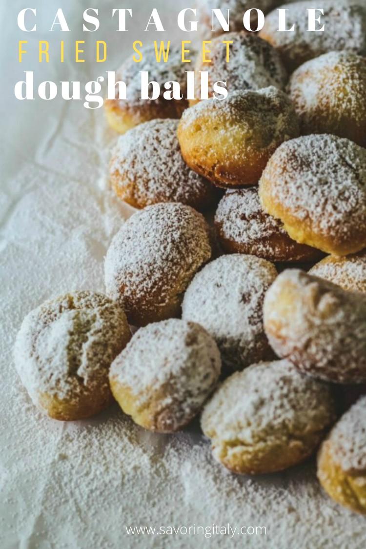 overhead image of Italian carnevale treats with powdered sugar