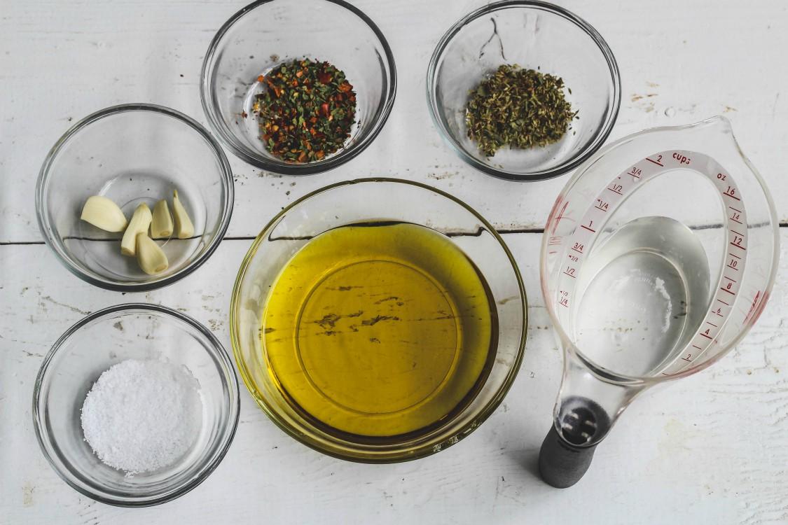 overhead image of marinade ingredients on wooden board