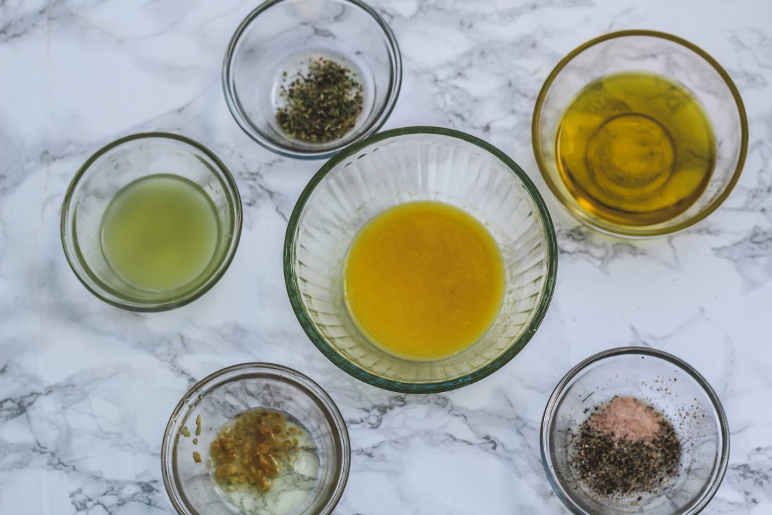 overhead image of marinade ingredients in bowls