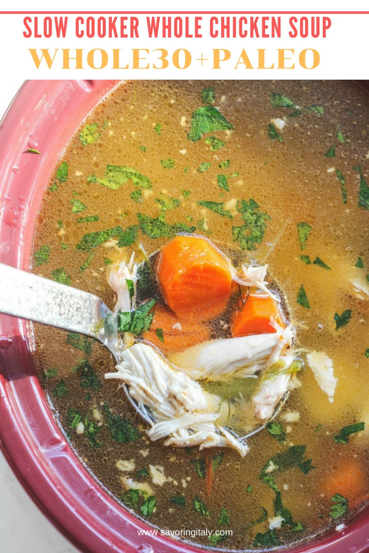 overhead image of soup in a red slow cooker