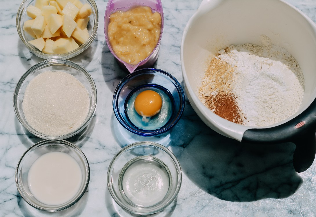 image of making apple banana bread