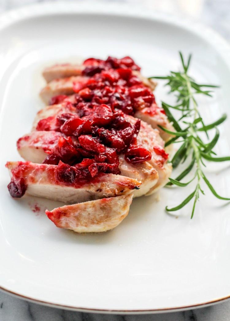 overhead image of cranberry glazed turkey tenderloin