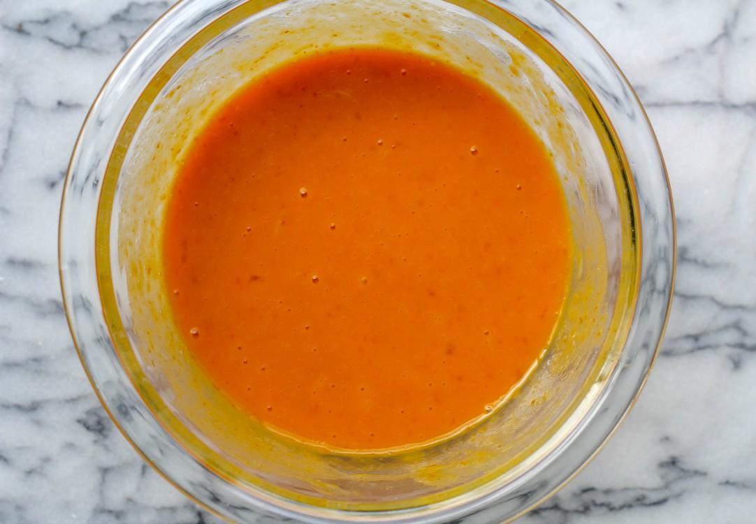 overhead image of making paleo pumpkin pancakes