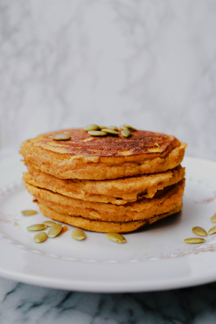 overhead image of paleo pumpkin pancakes