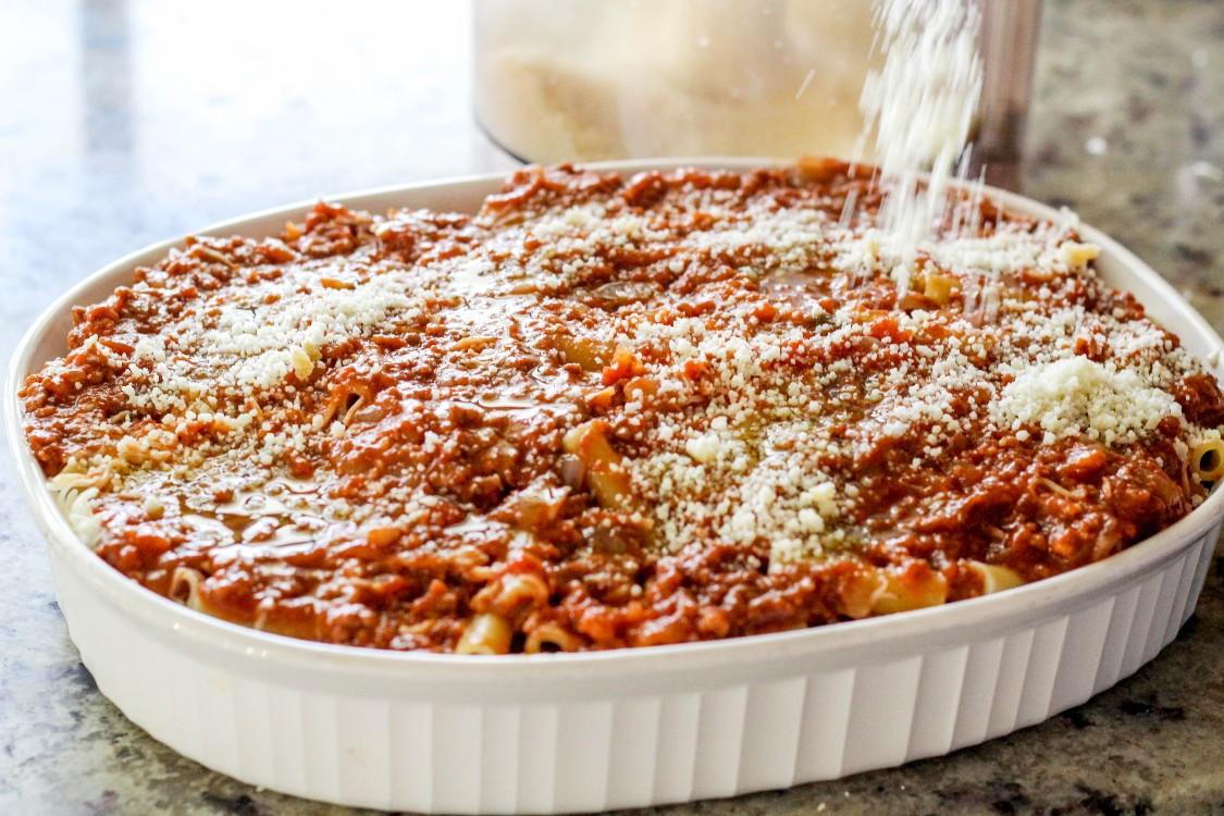 overhead image of making ziti al forno
