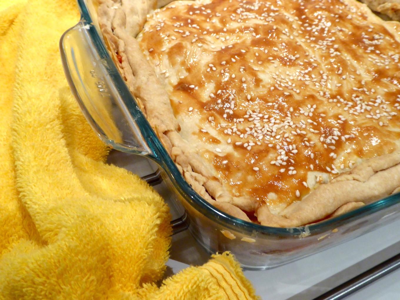 artichoke tomato feta and olive pie
