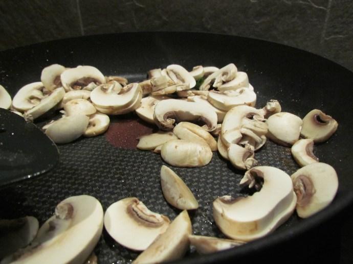 frying mushrooms