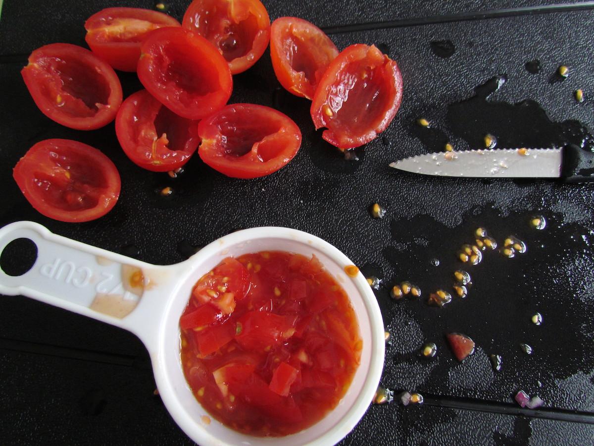 deseeded cherry tomatoes