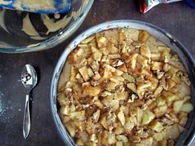 passover apple and walnut cake batter | www.savormania.com
