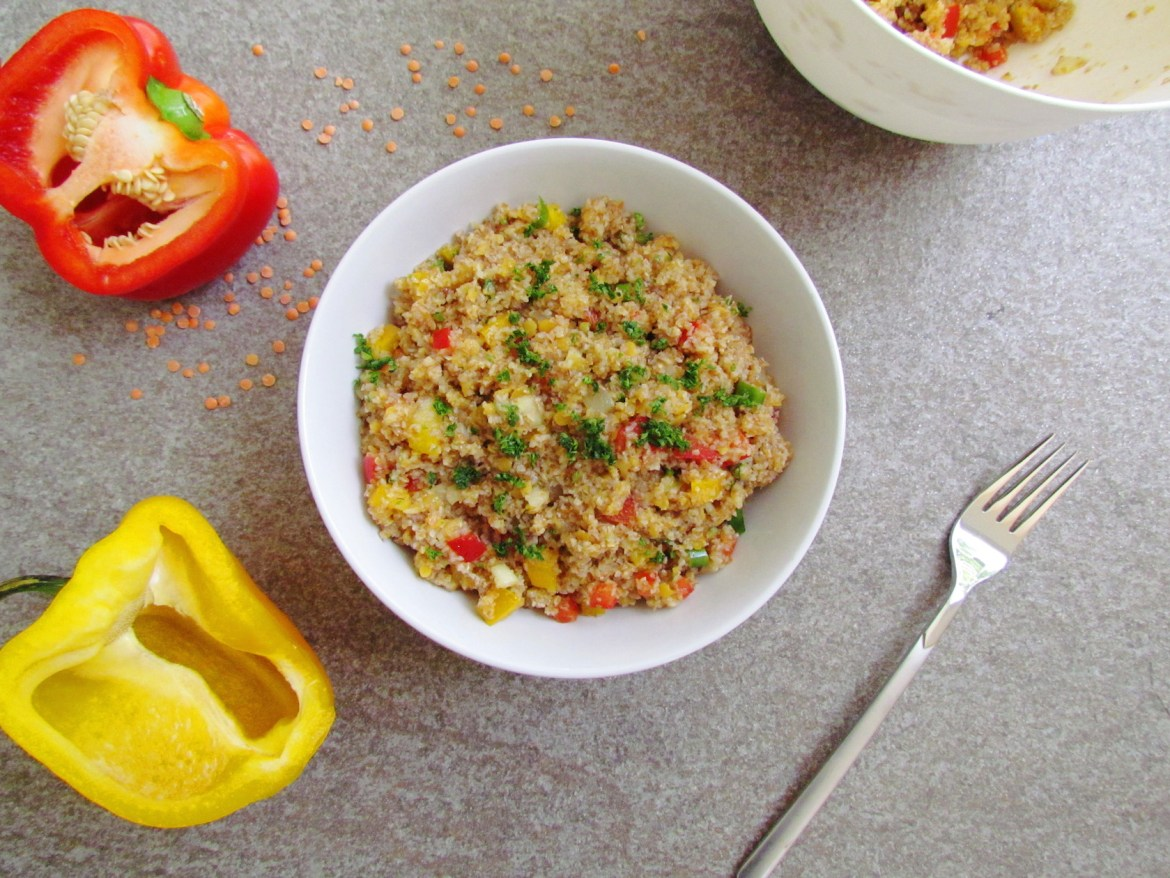 bulgur red lentil salad
