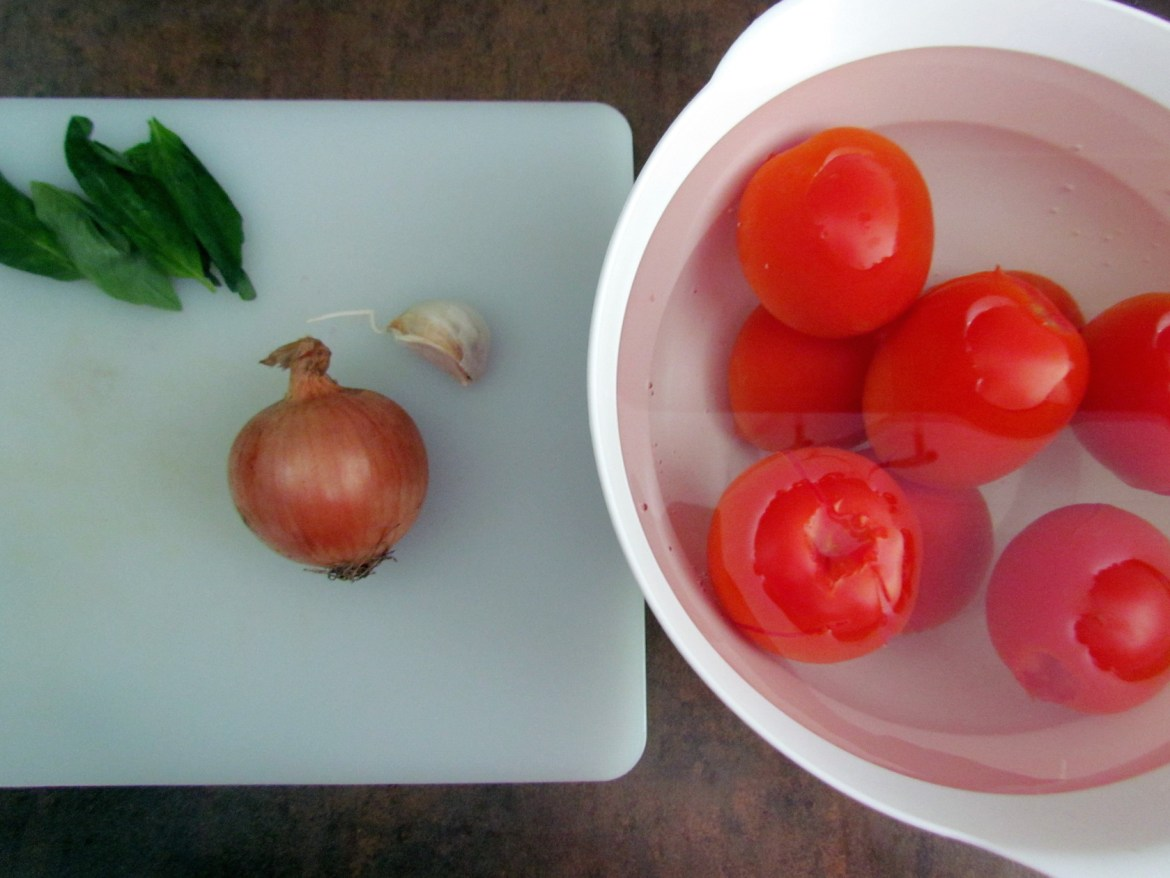 ingredients for homemade tomato sauce