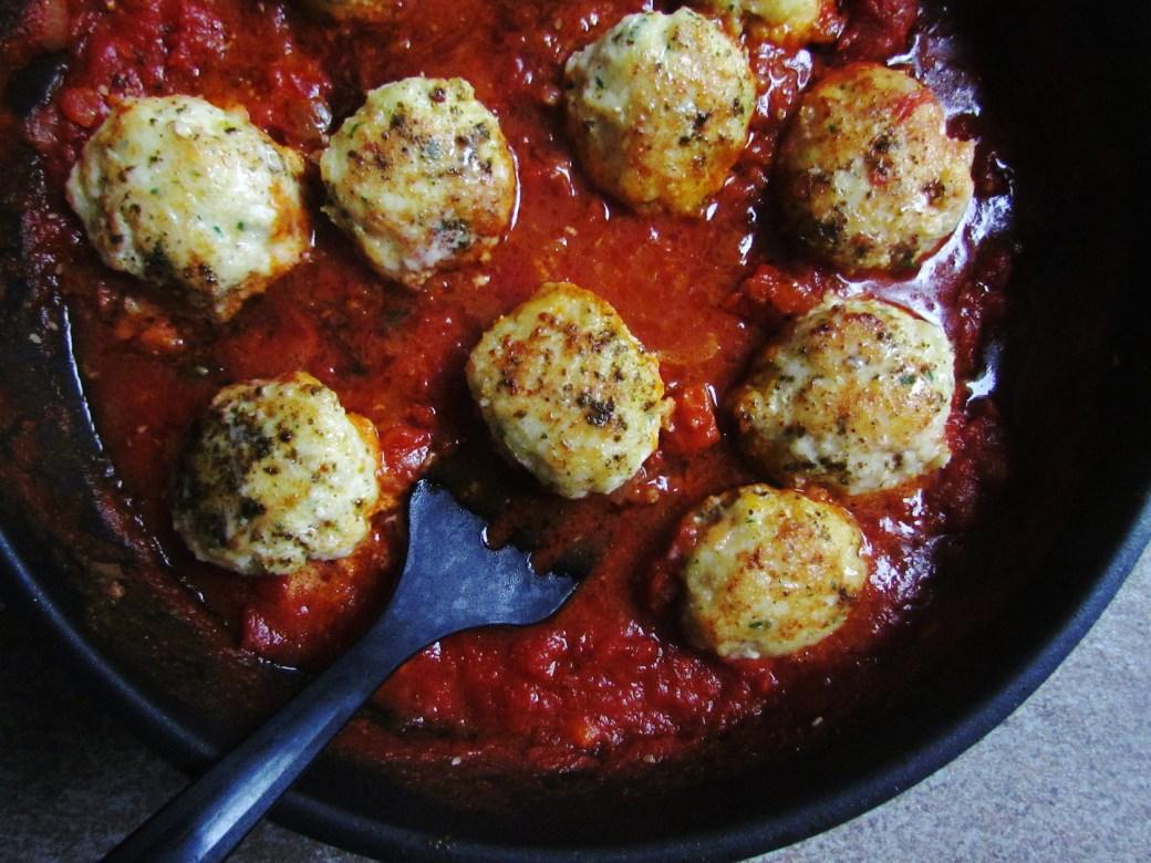 za'atar spiced cod patties in tomato sauce