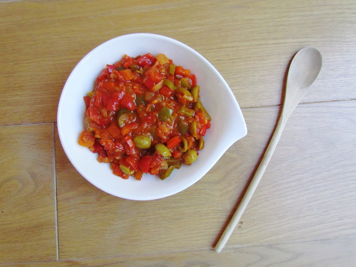 cooked bell pepper salad with green olives