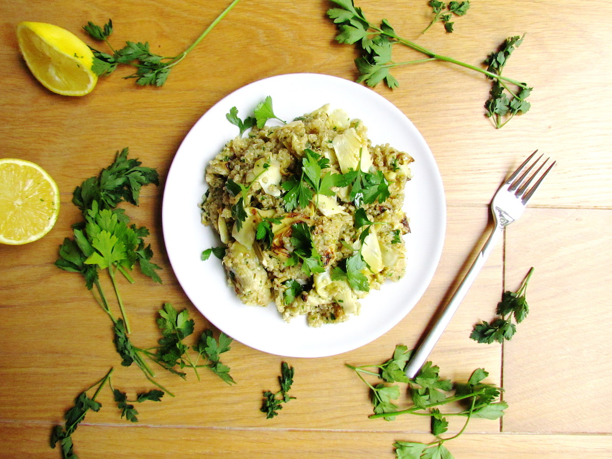 quinoa with pan-roasted artichokes lemon and parsley | www.savormania.com