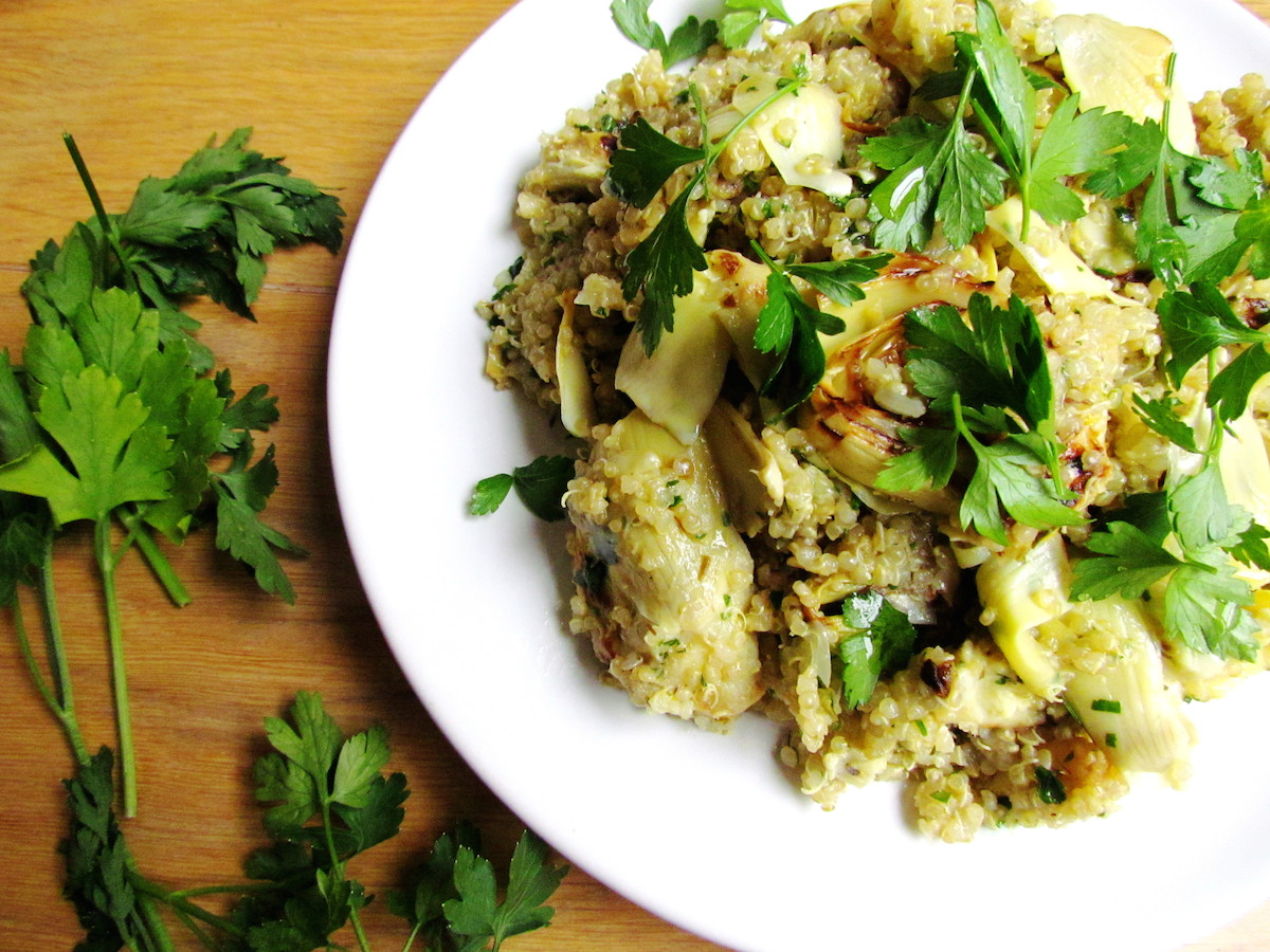 quinoa with pan-roasted artichokes lemon and parsley