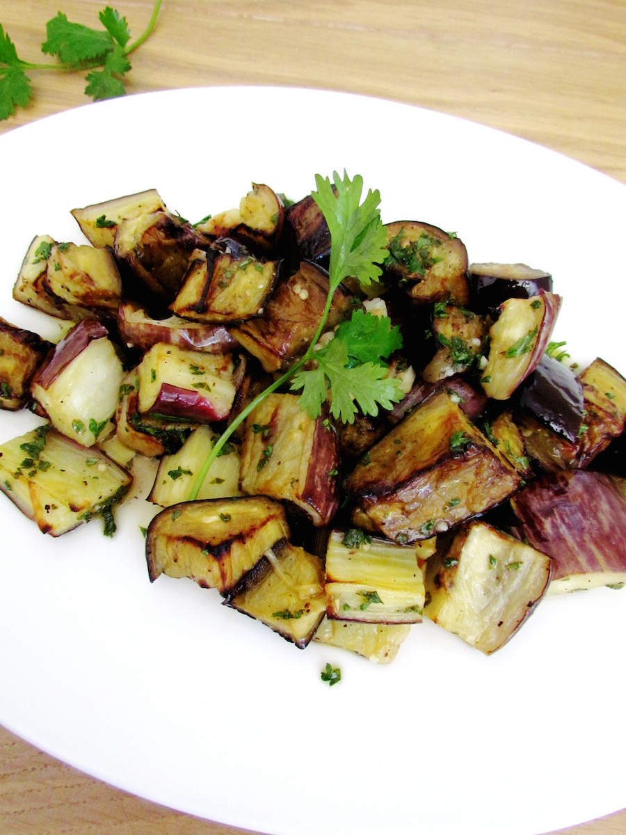 roasted and marinated eggplants with herbs