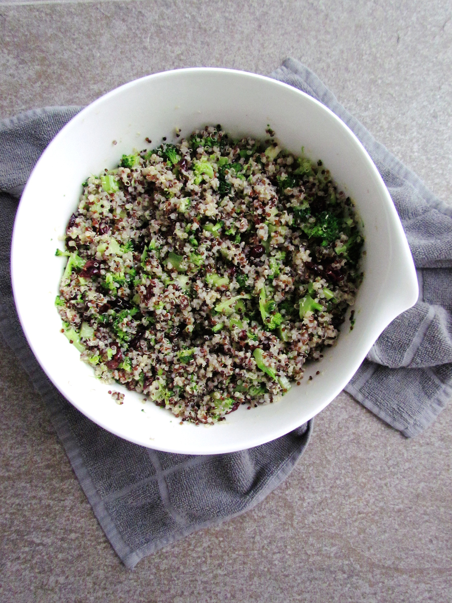 quinoa salad with caramelized walnuts and cranberries