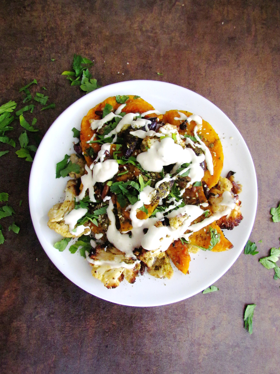 roasted butternut squash and cauliflower with tahini