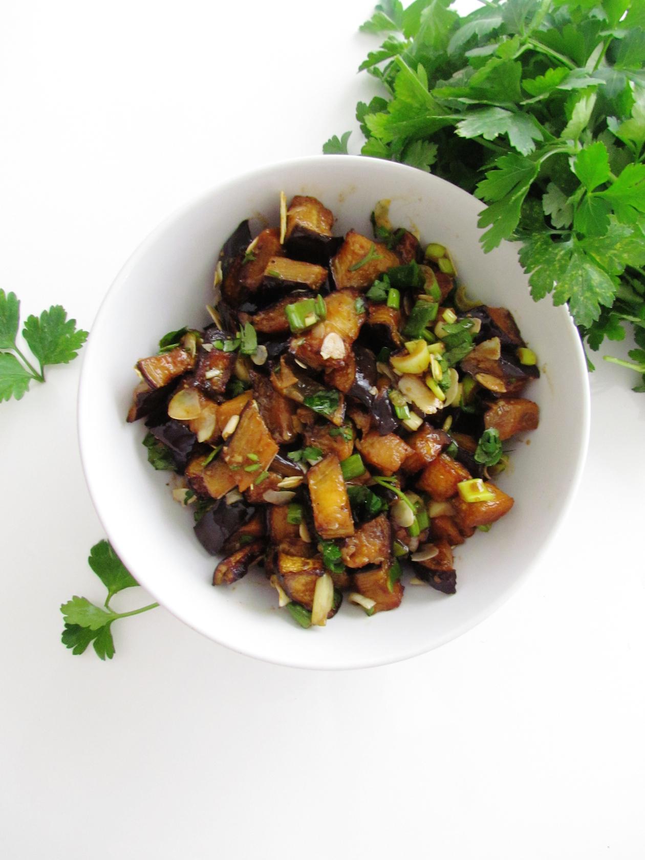 roasted eggplant and almond salad