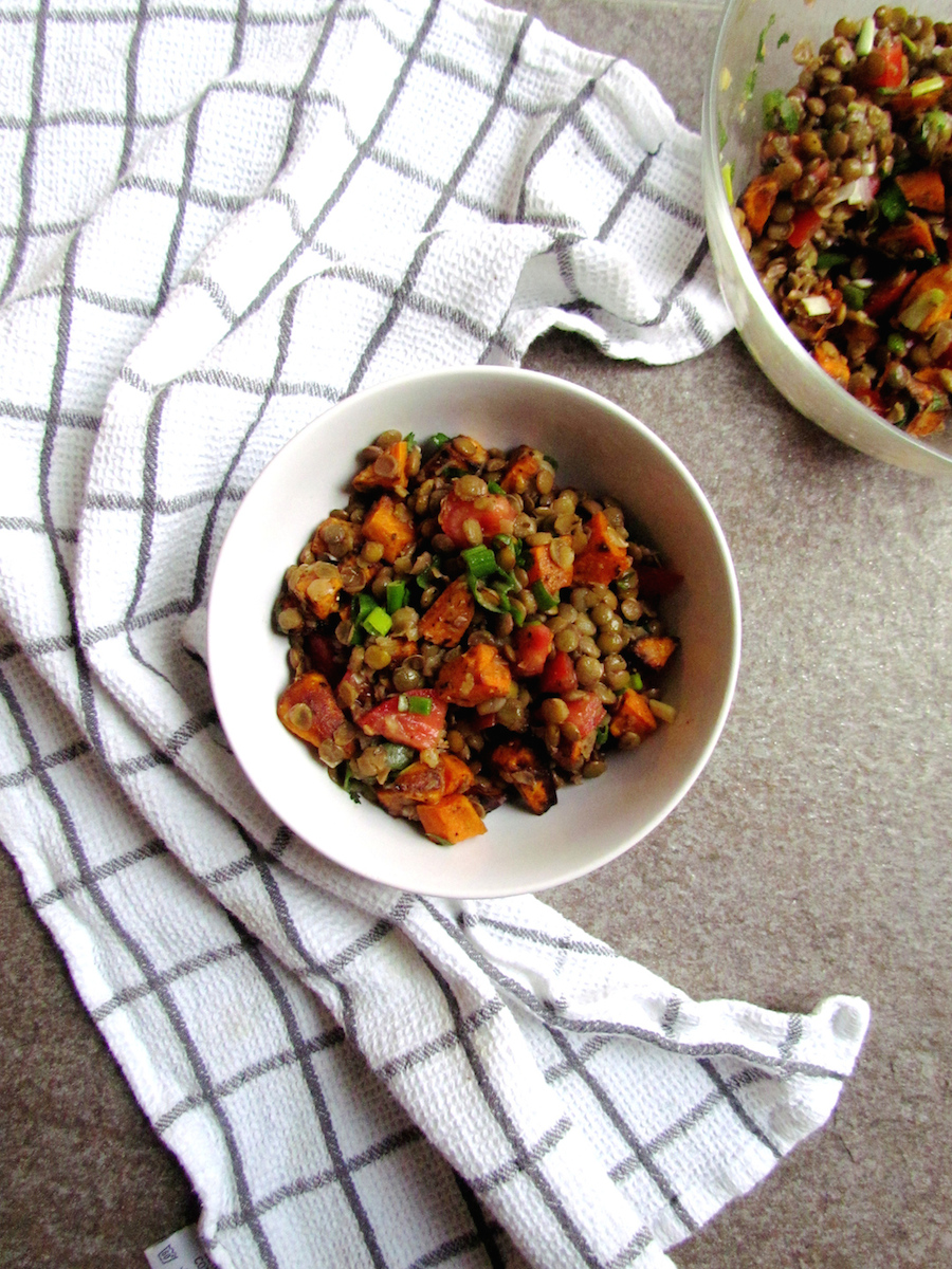 roasted sweet potato and lentil salad