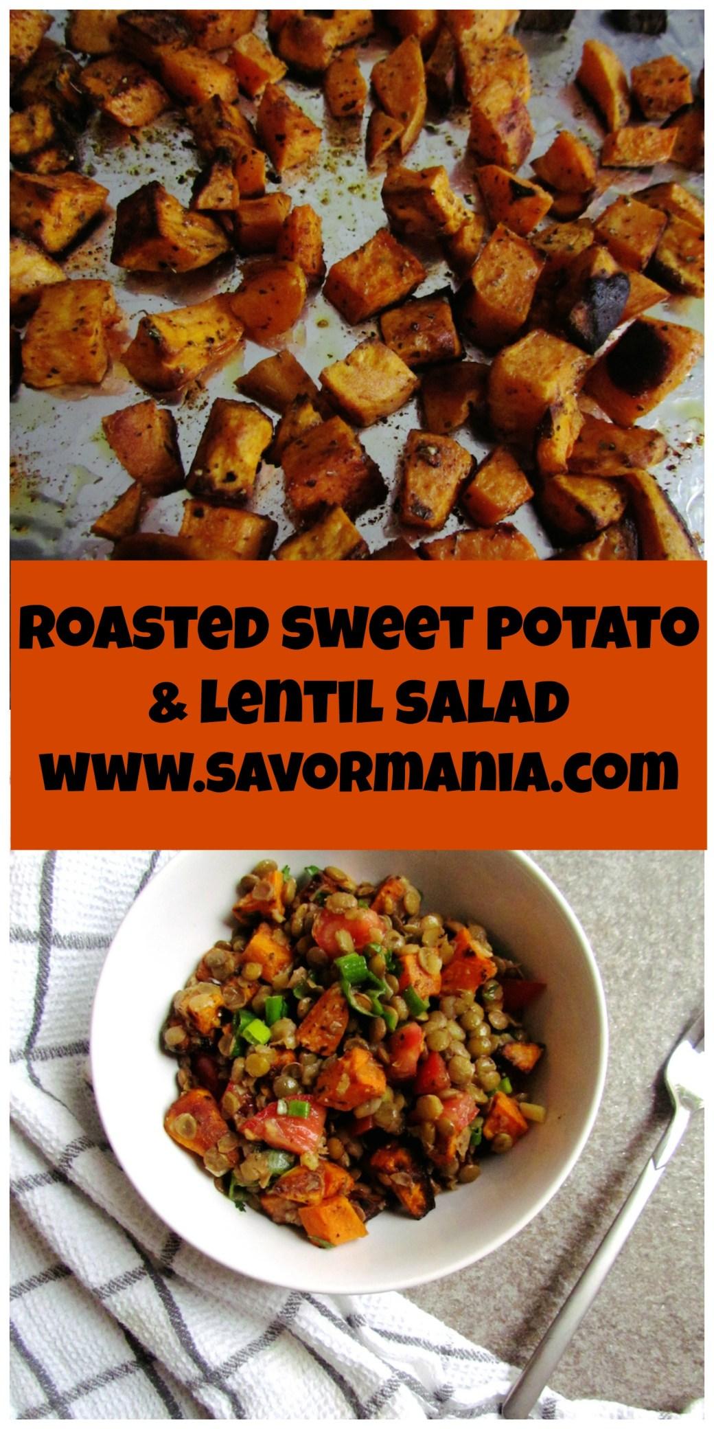 roasted sweet potato and lentil salad   www.savormania.com