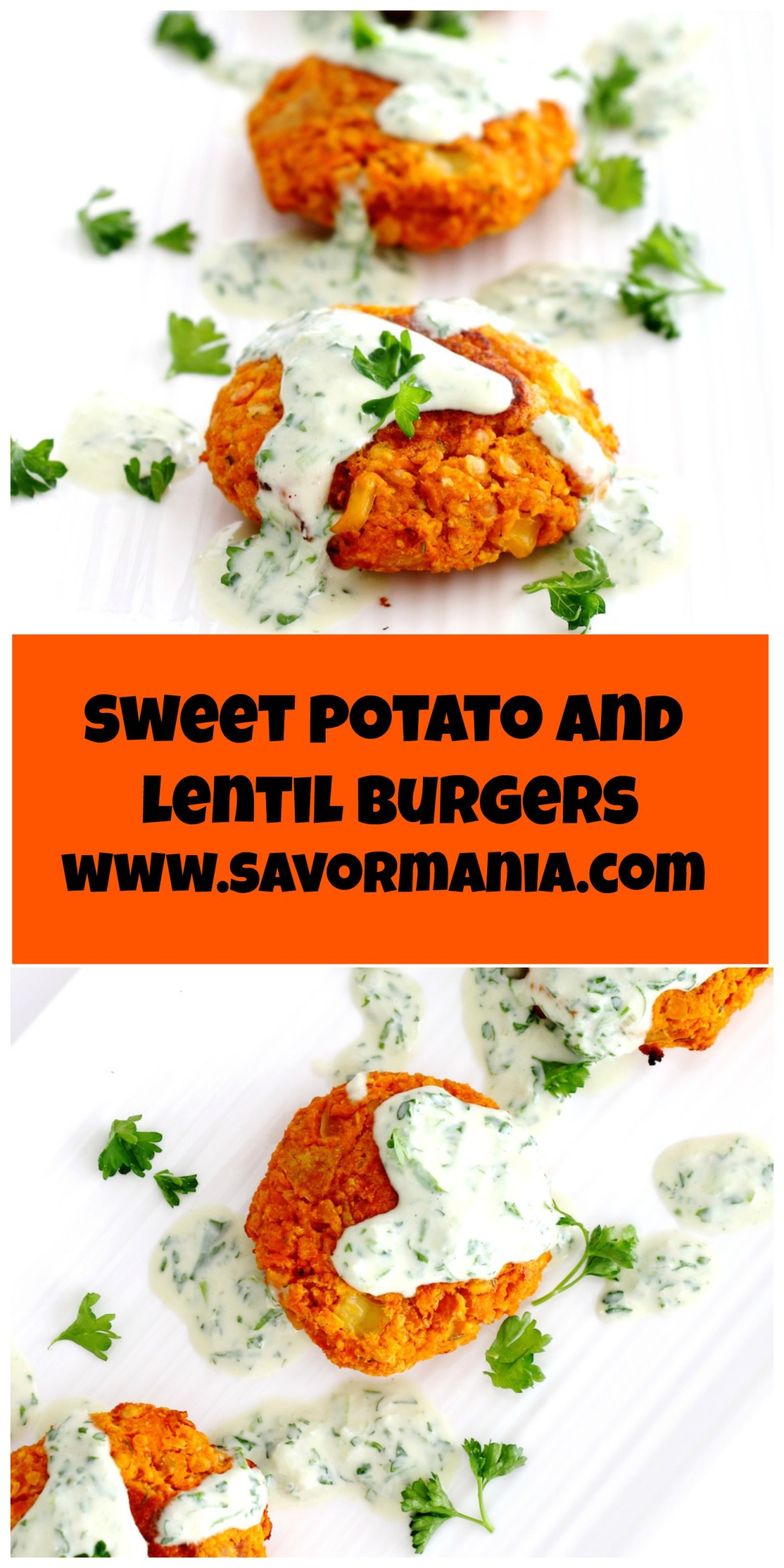 sweet potato and lentil burgers