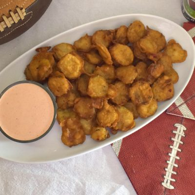 Beer Battered Fried Pickles with Bloody Mary Aioli