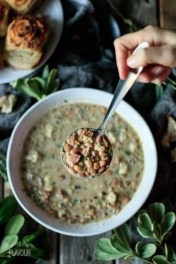 Leftover Ham and Bean Soup: give leftover ham a boost with this easy, creamy stovetop ham and bean soup! It's a budget friendly, gluten free dinner recipe that's packed with flavor, protein, fiber, and nutrients.   www.savortheflavour.com #leftovers #souprecipe #ham #beans #budgetfriendly