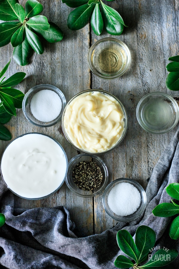 dressing ingredients for pea salad