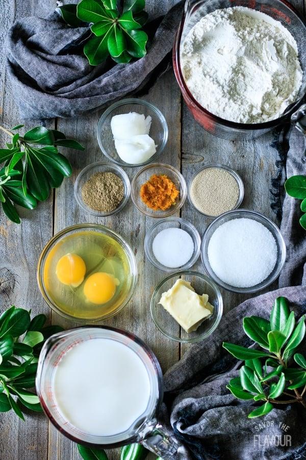dough ingredients for Swedish cardamom buns