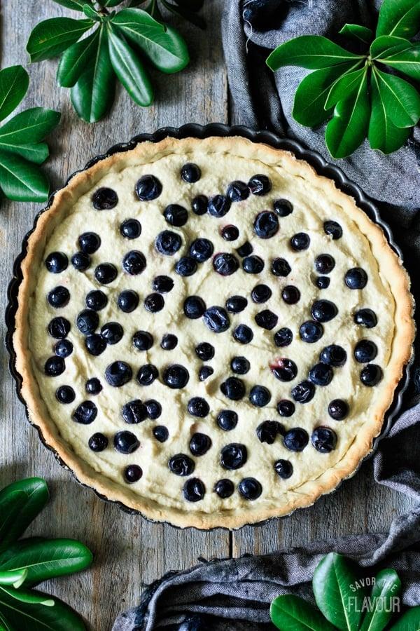 blueberry frangipane tart before baking